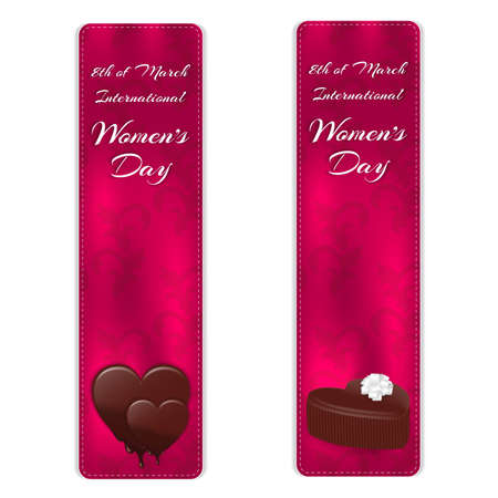 Set of two vertical banners with elegant silk ornament. Below are two variants of chocolates, and above inscription on March 8. Vector Illustration