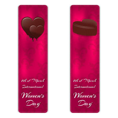 Set of two vertical banners with elegant silk ornament. At the top are two variants of chocolates, and below the inscription on March 8. Vector