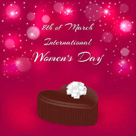Elegant holiday card red. Chocolate candy in the shape of a heart and an inscription with the International Womens Day on March 8. Vector Illustration