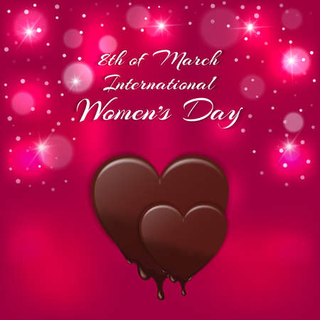Holiday card with a red heart and melting chocolate inscription International Womens Day on 8 March. Vector