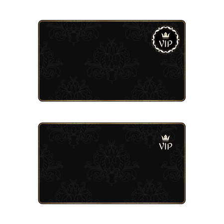 celebrities: Set of two black elegant business cards with a leafy texture in a Victorian style and VIP icons. Illustration