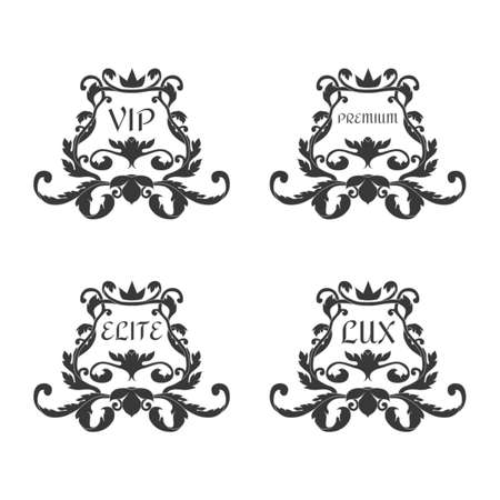 A set of four ornaments in the Victorian style with inscriptions VIP, Premium, Elite, Suite. For decoration.