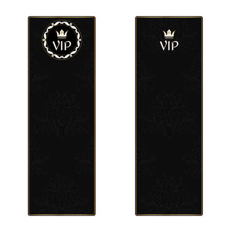 Set of two black elegant vertical banners with a leafy texture in a Victorian style and VIP icons. Vector