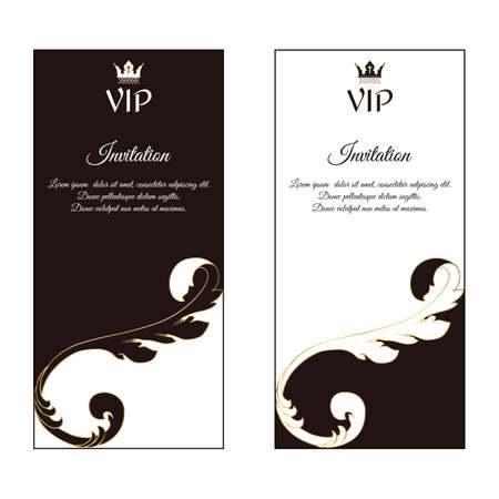 A set of two vertical elegant flyers for VIP invitations. With a Victorian ornament, brown and white. Vector