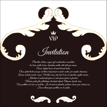 overture: Elegant postcard for VIP invitations and congratulations. In Victorian style, with foliage. Brown with white flowers. Vector. Illustration