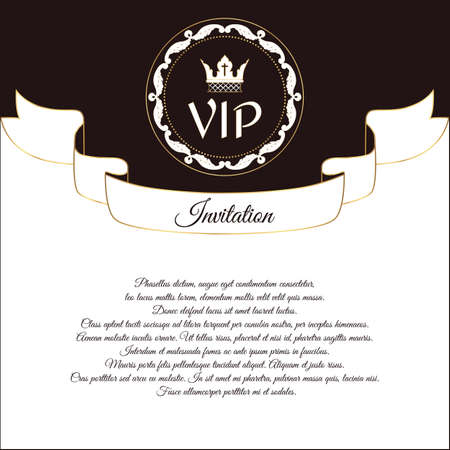 solicitation: Elegant postcard for VIP invitations and congratulations. In Victorian style, with a round ornament. Brown with white flowers. Vector.