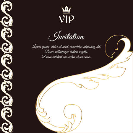 bidding: Elegant brown card for vip greetings and invitations. In Victorian style, with foliage. Vector.