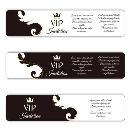 bidding: Set of three horizontal elegant vip banners. With a Victorian ornament, brown and white. Vector