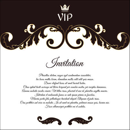 solicitation: Elegant postcard for VIP invitations and congratulations. In the Victorian style. Brown with white flowers. Vector.