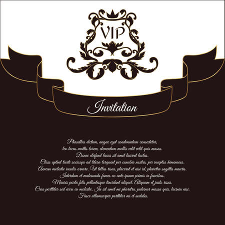 overture: Elegant postcard for VIP invitations and wedding greetings. In the Victorian style, with an openwork ornament. Brown with white flowers. Vector.