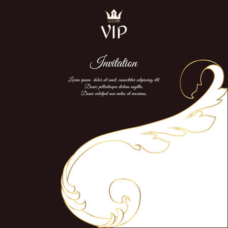 solicitation: Elegant brown card for vip greetings and invitations. In Victorian style, with foliage. Vector.