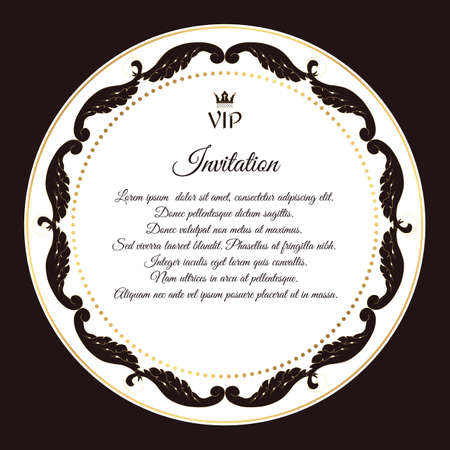 solicitation: Elegant brown emblem, for VIP invitations. With a circular white Victorian ornament. For design and web. Vector