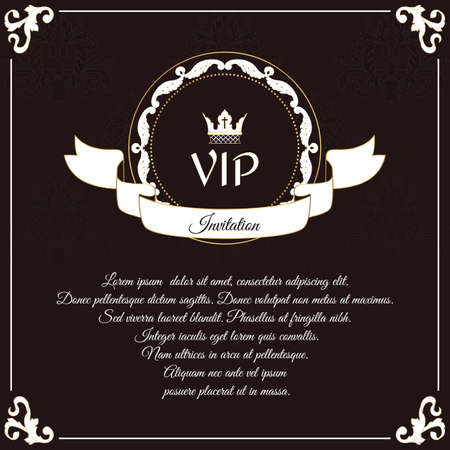 overture: Elegant VIP card. It is executed in the Victorian style with a leaf ornament. Suitable for the design of invitations. Vector Illustration