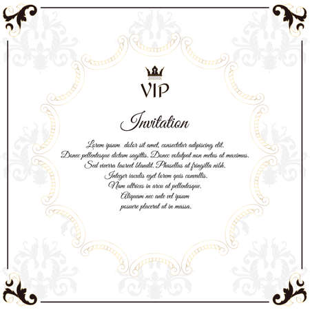 overture: Elegant white emblem, for VIP invitations. With a circular white Victorian ornament. For design and web. Vector