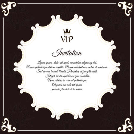 bidding: Elegant round postcard for VIP invitations. With leafy elements of Victorian style. Colors are brown with white. Vector