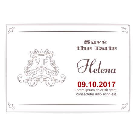 Elegante witte kaart voor een belangrijke datum, gemaakt in Victoriaanse stijl.