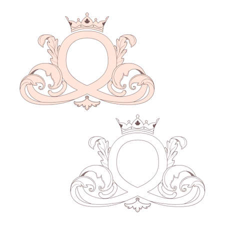 Calligraphic Baroque ornament with a crown is suitable for design of labels, invitations, postcards. It is executed in Vintage style. Illustration