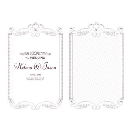 Elegant wedding invitation template.