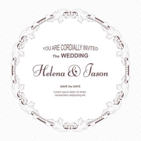 Round wedding invitation template. Ilustrace