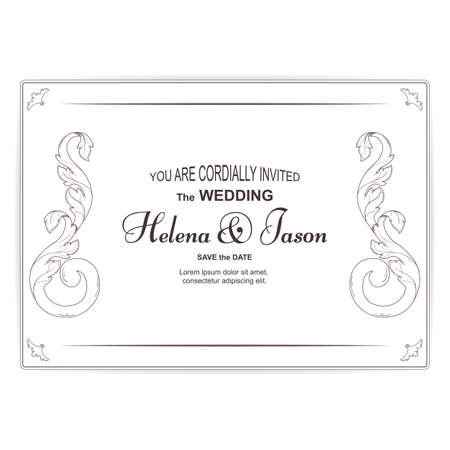 Elegant vintage invitation card for the wedding