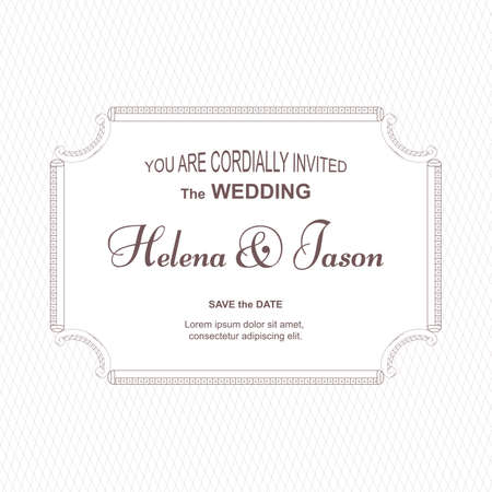 An elegant vintage card for the wedding