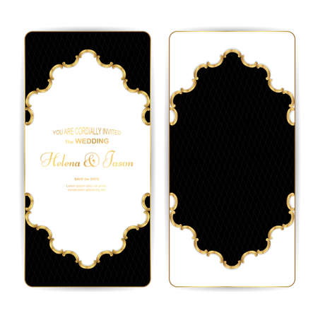 Elegant vertical vintage black with a gold flyer for the wedding invitation, the ornament is made in Victorian style. For design and printing. Vector