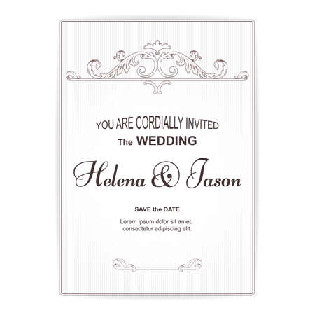 Elegant vertical vintage white postcard for the wedding invitation, the ornament is executed in the Victorian style. For design and printing. Vector