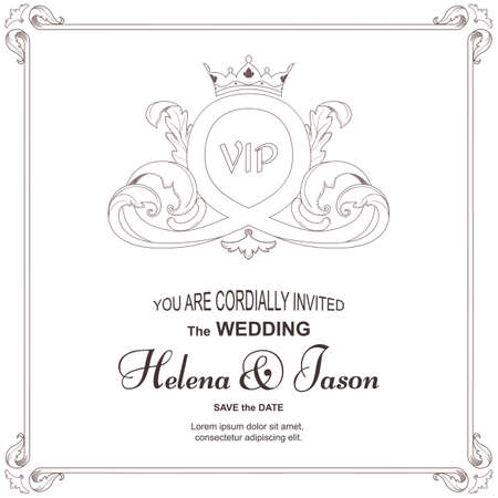 Elegant vintage white card for invitation to a wedding, ornament in Victorian style. For design and printing. Vector Ilustrace