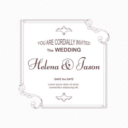 Elegant vintage white card for the wedding invitation, the frame is centered in the form of a rectangle in Victorian style. For design and printing. Vector