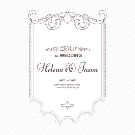 An elegant vintage card for the wedding, in the center of the ornament repeats the shape of the square. It is executed in Victorian style. Sounds good for printing. Vector.