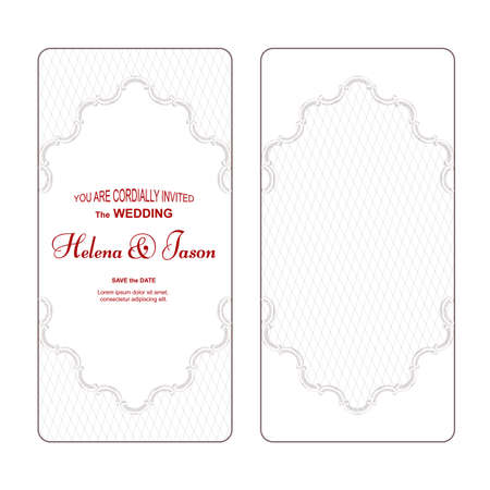 An elegant vertical vintage white for the wedding invitation, the ornament is made in Victorian style. For design and printing. Vector Ilustrace