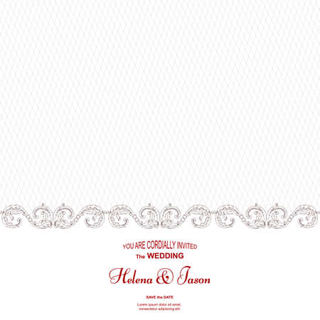 Elegant vintage white card for the wedding invitation, the ornament is executed in the Victorian style. For design and printing. Vector