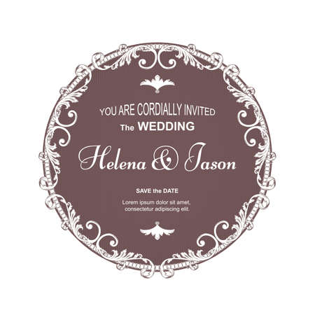 Elegant brown round postcard for a wedding invitation, the frame is executed in a Victorian style. Suitable for printing and design. Vector