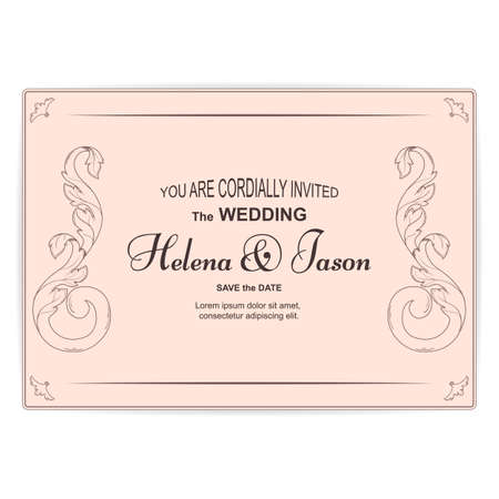 Elegant beige horizontal vintage card for the invitation to the wedding. The ornament is filigree in Victorian style. Vector.