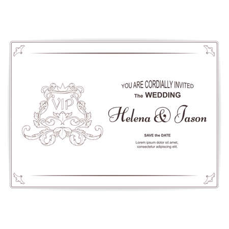 Elegant horizontal vintage white postcard for the wedding invitation, the ornament is executed in the Victorian style. For design and printing. Vector Ilustrace
