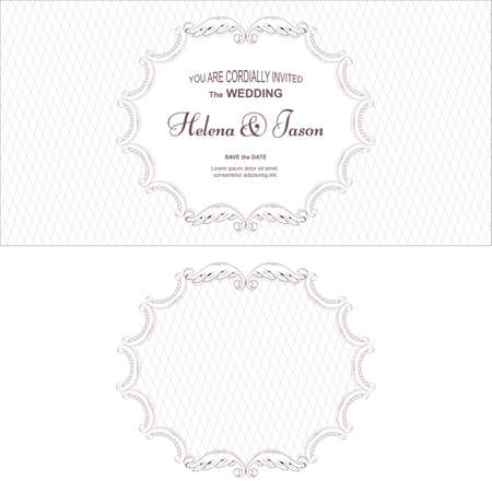 Elegant wedding frame in two versions, executed in a Victorian style, oval shape. Suitable for printing and design. Vector Ilustrace