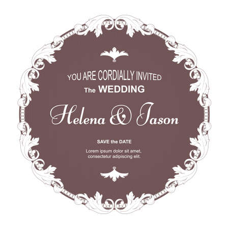 Elegant vintage round postcard for the invitation to the wedding, brown with a filter ornament. The ornament is made in Victorian style. Ilustrace