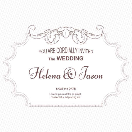 Elegant vintage card for the invitation to the wedding, white. The frame is made of an ornament in Victorian style.