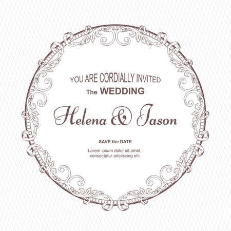 Elegant vintage round postcard for the invitation to the wedding, white color with a fluted ornament. The ornament is made in Victorian style. Ilustrace