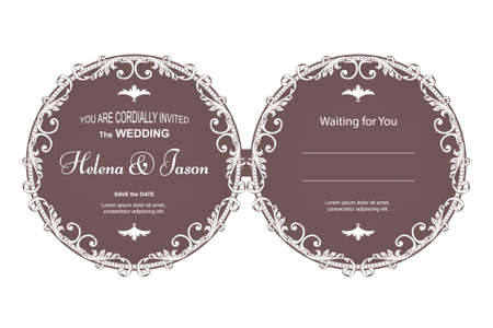 Elegant vintage round two-sided postcard for the invitation to the wedding, brown with a filter pattern. The ornament is made in Victorian style.