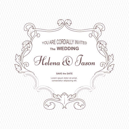 Elegant vintage frame for the wedding invitation, white. The ornament is made in Victorian style. For design and printing. Vector. Ilustrace
