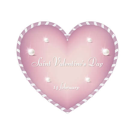A tender pink heart for St. Valentine's Day, February 14. The heart is made in the form of ribbons. For design and printing. Vector. Ilustração