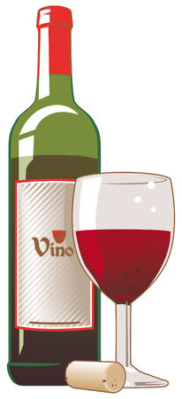 Red wine bottle, cork and glass Illustration