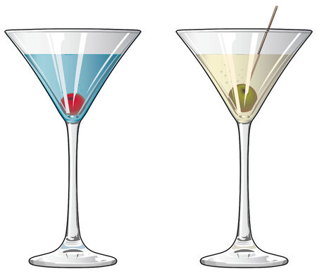 Cocktails with cherry and olive Illustration