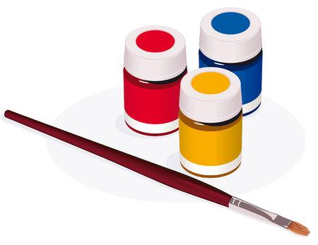 Paintbrush and paint pots