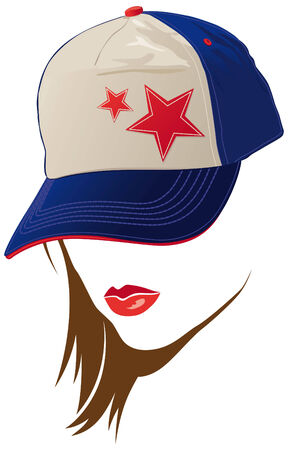hiphop: Female face with USA cap Illustration