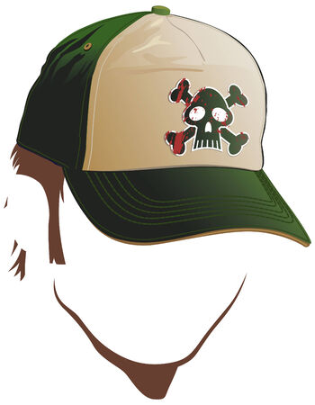 headgear: Male face with skull cap Illustration