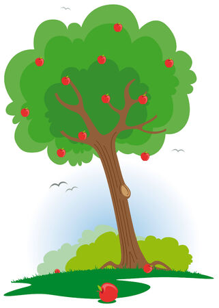 Apple tree with red apples Illustration