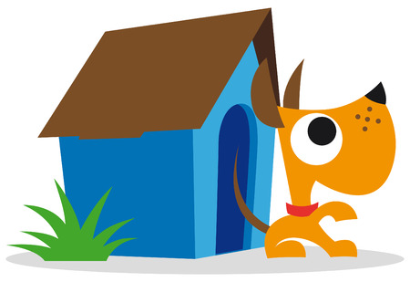 Orange dog and blue dog house Illustration