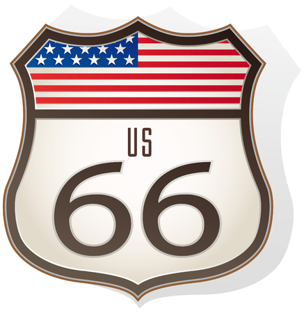 Route 66 sign with us flag Illustration